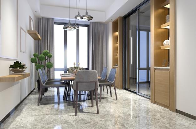 Rendu 3d belle salle à manger en bois avec idée de décor d'étagère