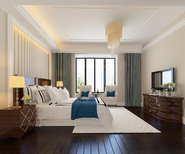 Rendu 3d d'une belle suite de chambre de luxe dans un hôtel avec télévision