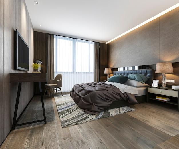 Rendu 3d belle suite de chambre de luxe dans l'hôtel avec tv et table de travail