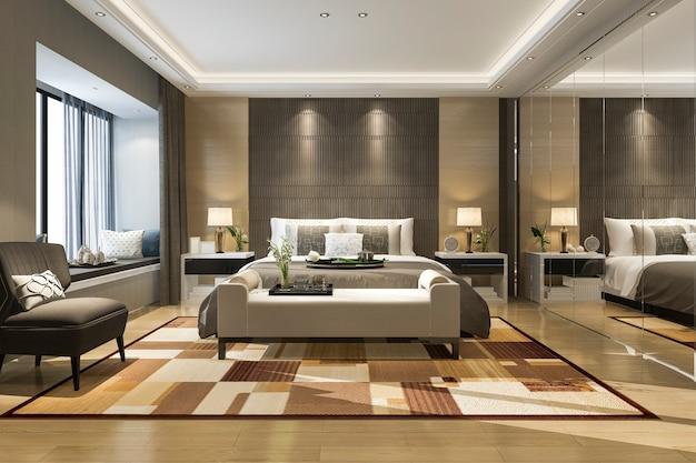 Rendu 3d belle suite de chambre de luxe à l'hôtel avec penderie miroir