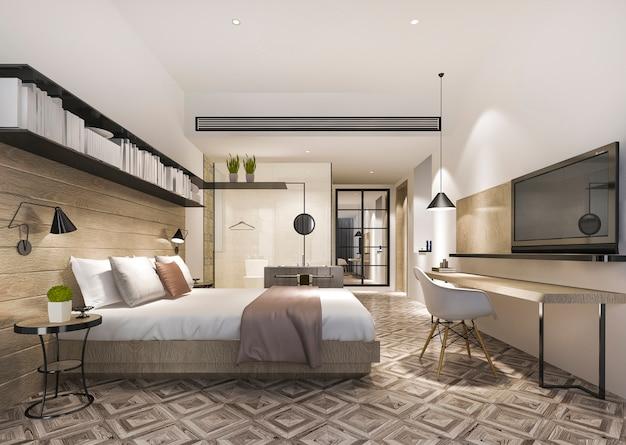 Rendu 3d belle suite de chambre de luxe à l'hôtel avec télévision et table de travail