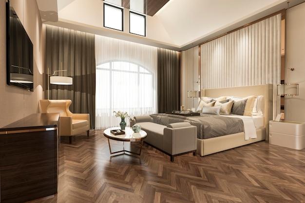 Rendu 3d belle suite de chambre de luxe à l'hôtel avec télévision