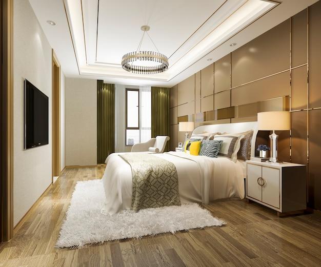 Rendu 3d belle suite jaune de chambre à coucher dans l'hôtel avec tv