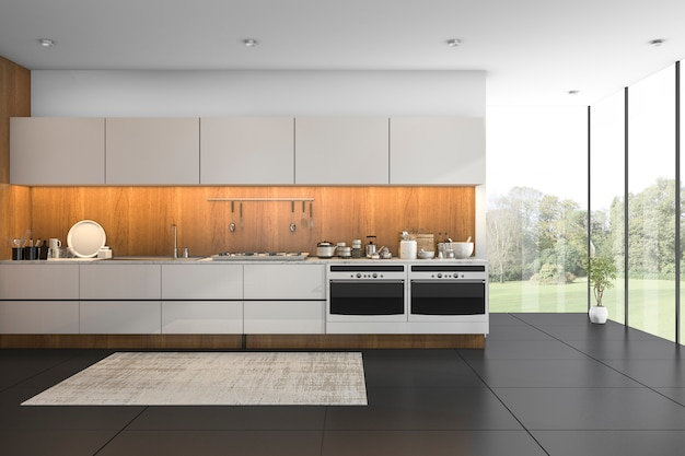 Rendu 3d belle vue cuisine en bois avec carrelage noir