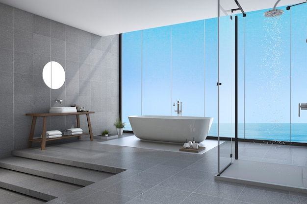 Rendu 3d belles marches salle de bain moderne vue mer