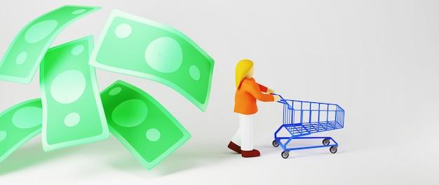 Rendu 3d de billets de banque et femme commerçante. affaires en ligne et commerce électronique sur le concept de magasinage en ligne. transaction de paiement en ligne sécurisée avec smartphone.
