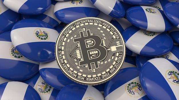 Rendu 3d d'un bitcoin métallique doré et noir sur un tas de badges avec le drapeau salvadorien