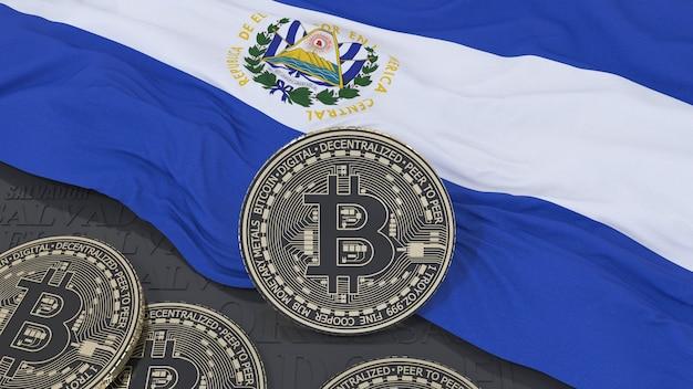 Le rendu 3d d'un bitcoin métallique sur un drapeau salvadorien