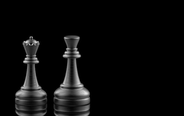 Rendu 3d. black king et queen aux échecs sur fond noir.