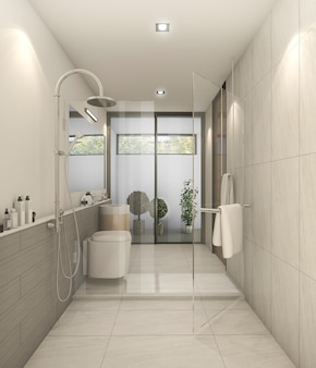Rendu 3d blanc belles toilettes modernes avec une bonne décoration