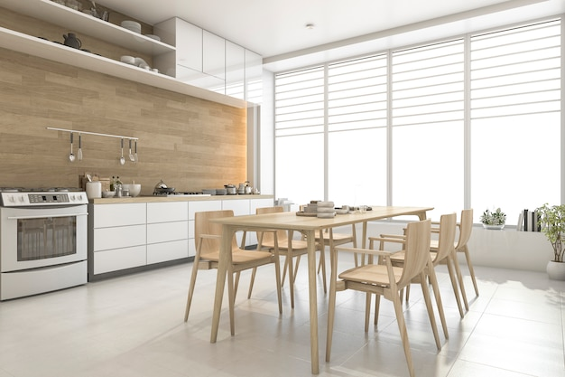 Rendu 3d blanc cuisine et salle à manger en bois de style scandinave