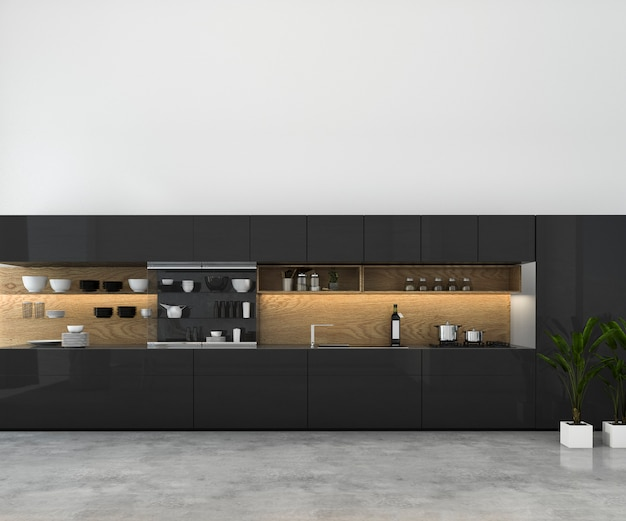 Rendu 3d blanc minimal maquette cuisine avec décoration en bois