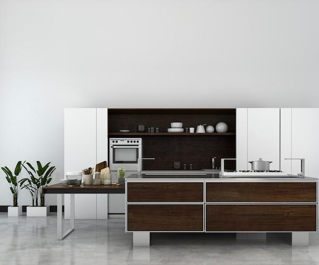 Rendu 3d blanc minime cuisine mezzanine avec décoration en bois