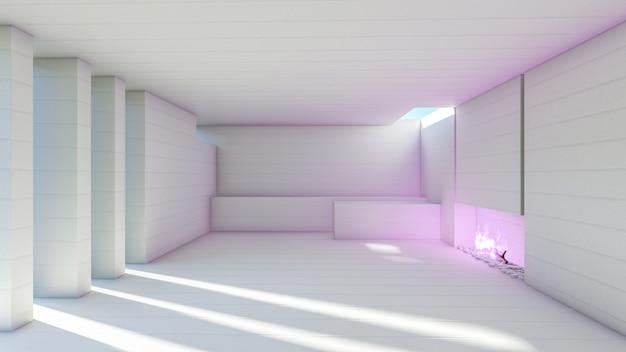 Rendu 3d blanc moderne salle vide avec cheminée flammes violettes