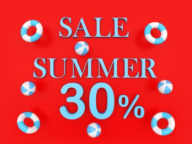 Rendu 3d bleu vente été trente pour cent texte avec des ballons de plage bleus et des bouées de sauvetage sur fond rouge
