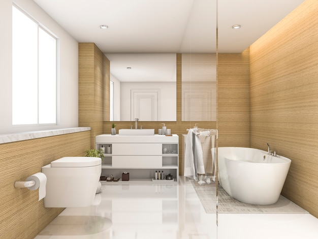 Rendu 3d bois de hêtre et blanc minimal salle de bain et toilette