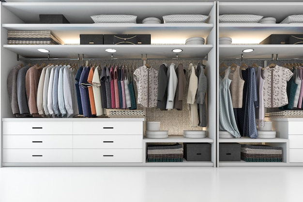 Rendu 3d bois minimaliste promenade dans le placard avec penderie