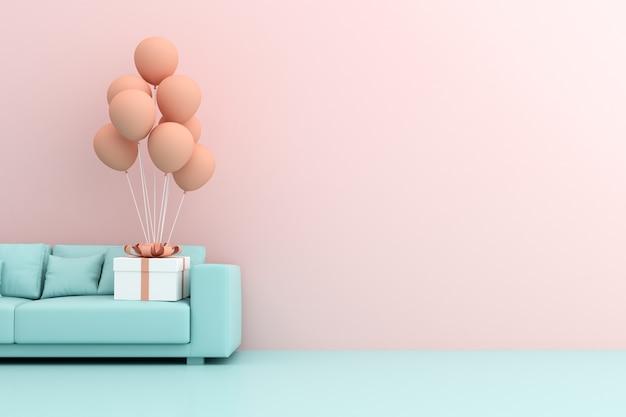 Rendu 3d de boîte-cadeau et de ballons sur canapé.