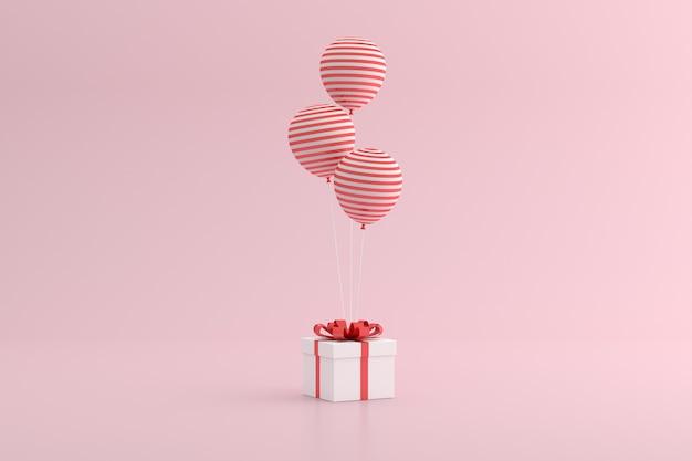 Rendu 3d de boîte-cadeau et de ballons sur fond rose.