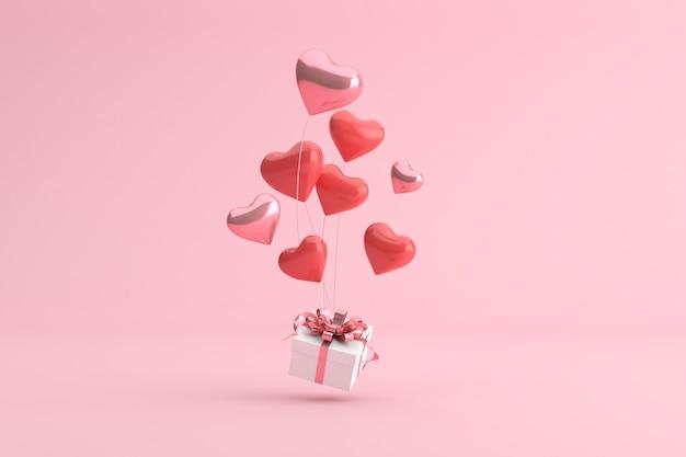 Rendu 3d de boîte-cadeau avec des ballons en forme de coeur.