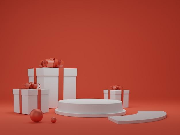 Rendu 3d de boîte cadeau. coffret avec podium stand 3d illustration