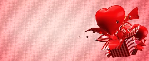 Le rendu 3d de la boîte-cadeau et du cœur apparaît et explose dans le concept de l'amour et de la saint-valentin heureuse.