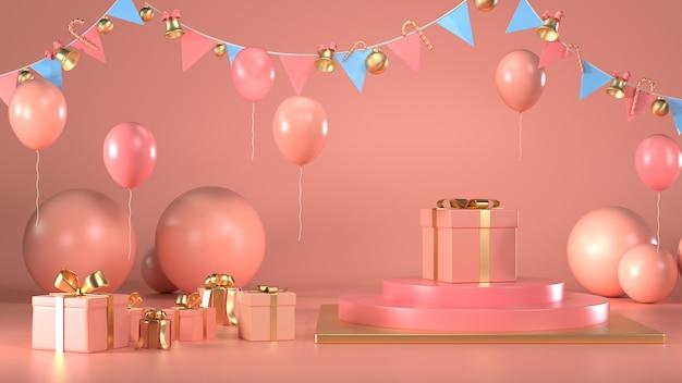 Rendu 3d de boîte-cadeau de noël décorer sur pastel rose podium