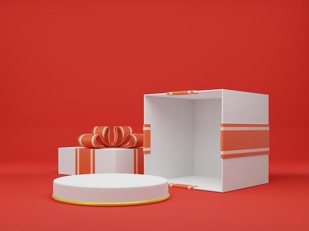 Rendu 3d de boîte cadeau ouverte. illustration 3d de coffret cadeau