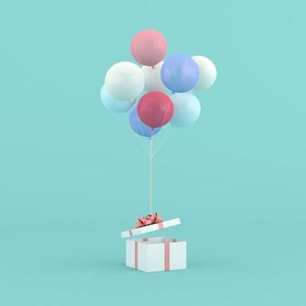 Rendu 3d d'une boîte-cadeau ronde et de ballons. notion minimale.