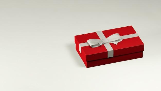 Rendu 3d d'une boîte cadeau rouge décorée avec un ruban blanc et un arc