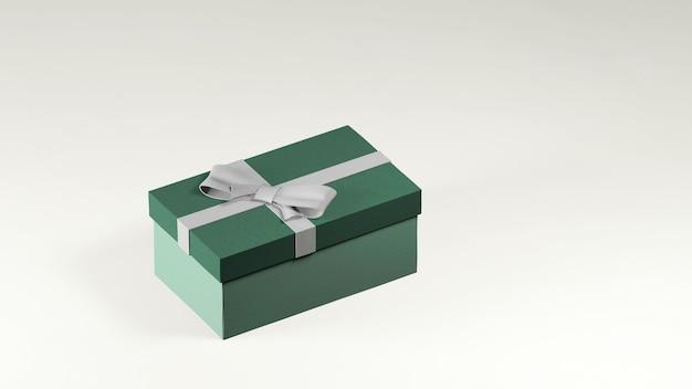 Rendu 3d de boîte cadeau verte décorée avec un ruban blanc et un arc