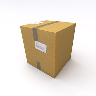 Rendu 3d d'une boîte en carton, fermée avec du ruban d'emballage marron sur une surface blanche