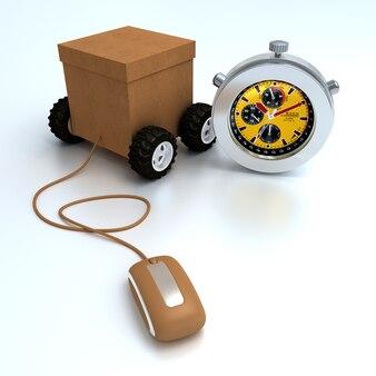 Rendu 3d d'une boîte en carton sur roues reliée à une souris d'ordinateur et un chronomètre