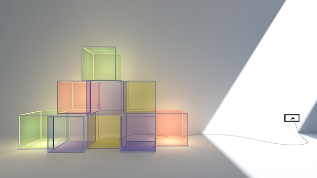 Rendu 3d de la boîte à lumière couleur pastel et espace de copie