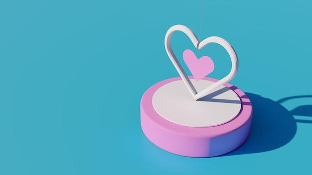 Rendu 3d, boîte à musique coeur, concept d'amour