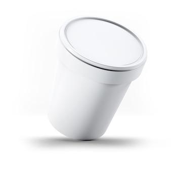 Rendu 3d boîte en plastique blanche de contenant de crème glacée pour votre conception et logo mock up. adapté à votre élément de conception.