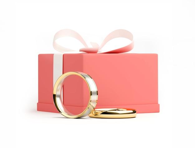 Rendu 3d d'une boîte rose avec ruban blanc et anneaux en or