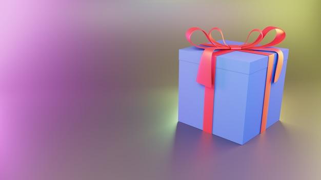 Rendu 3d de boîte violette cadeau