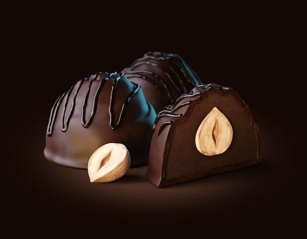 Rendu 3d de bonbons au chocolat noir fourrés à la truffe noire et noisettes entières à l'intérieur