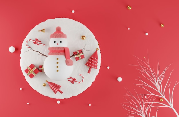 Rendu 3d de bonhomme de neige au jour de noël avec décoré