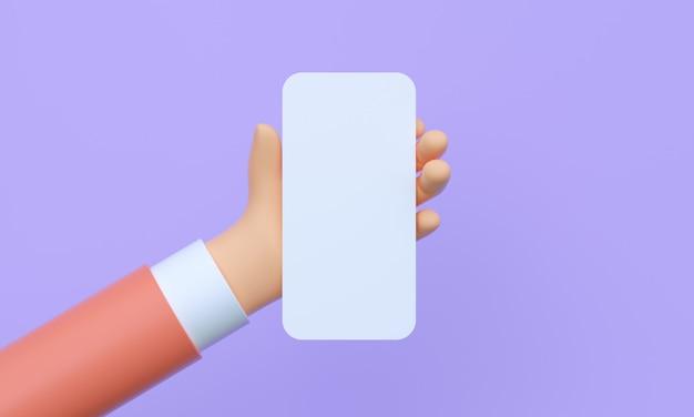 Rendu 3d bouchent la main tenant le smartphone avec un écran blanc