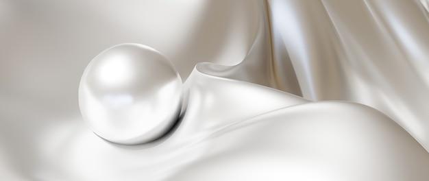 Rendu 3d de boule blanche et de soie. fond de mode art abstrait.