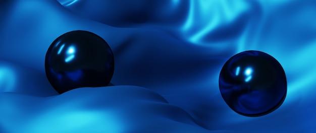 Rendu 3d de boule bleue et de soie. fond de mode art abstrait.