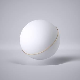 Rendu 3d de boule flottante blanche et anneau d'or