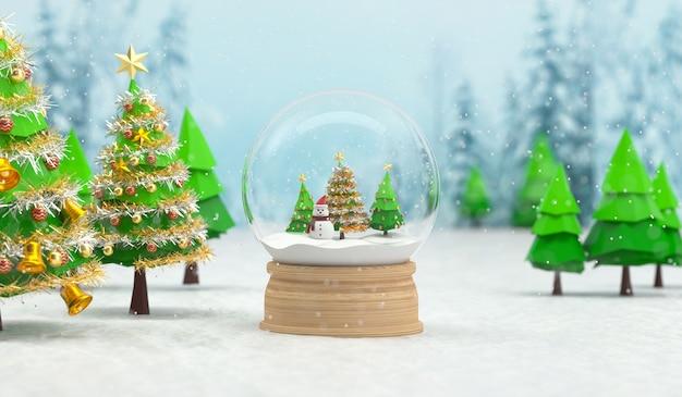 Rendu 3d de boule à neige de noël avec bonhomme de neige et arbres. rendu 3d