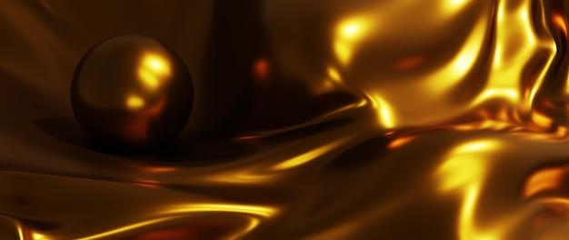 Rendu 3d de boule d'or et de soie. fond de mode art abstrait.