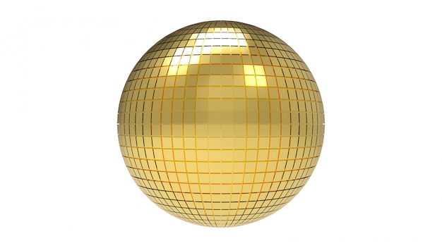 Rendu 3d. boule de sphère disco dorée avec un tracé de détourage isolé sur blanc.