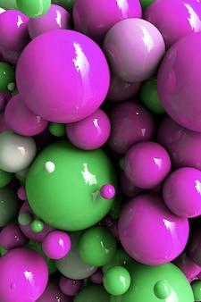 Rendu 3d boules abstraites ballons roses verts bulles fond géométrique formes primitives