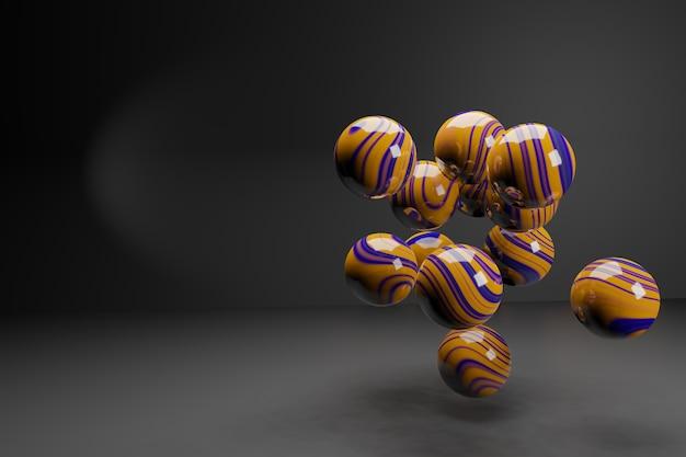 Rendu 3d. boules brillantes volumétriques abstraites avec texture trouble.
