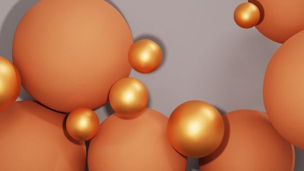 Rendu 3d de boules colorées et de boules dorées pour l'arrière-plan des présentations de produits. pour le produit d'exposition. maquette de vitrine de scène vierge.